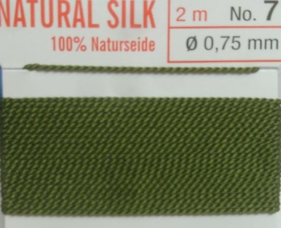 Naturseide olive  - 2 Meter 1 Nadel