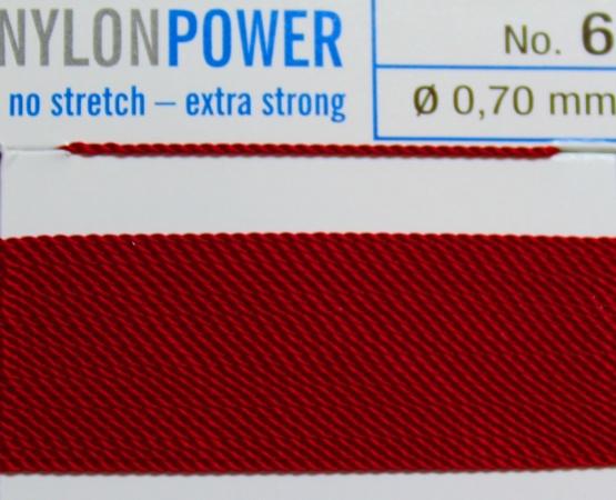Nylon Power granatrot - 2 Meter - 1 Nadel