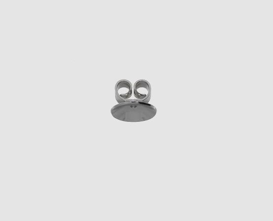 750 Weißgold Ohrmutter mit Platte gerade/ gewölbt