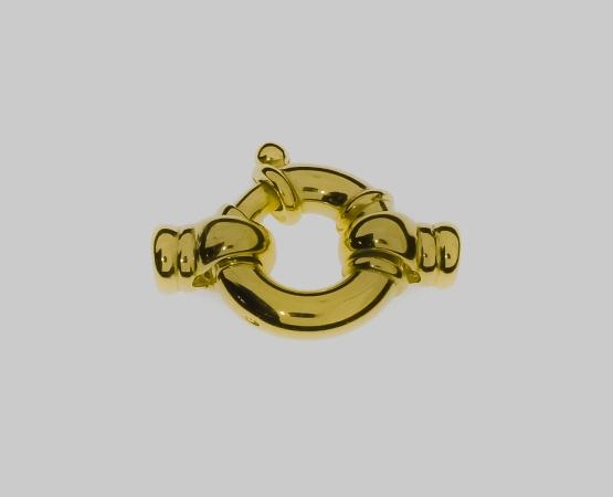 925 Jumbo Federring vergoldet m. Kalotte 15,0 mm 15 mm