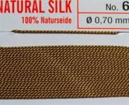 Naturseide  Nr. 6, 0,70 mm beige 2 Meter Nr. 6 - 0,70 mm