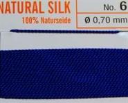 Naturseide dunkelblau  - 2 Meter 1 Nadel