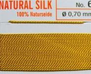Naturseide Nr.12, 0,98 mm dunkelgelb 2 Meter Nr.12 - 0,98 mm