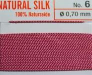 Naturseide Nr.2, 0,45 mm dunkelrosa 2 Meter Nr. 2 - 0,45 mm