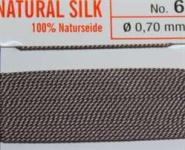 Naturseide Nr. 8, 0,80 mm grau 2 Meter Nr. 8 - 0,80 mm
