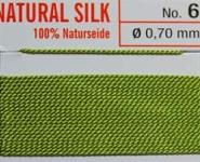 Naturseide Nr. 6, 0,70 mm jadegrün 2 Meter Nr. 6 - 0,70 mm
