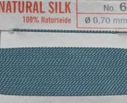 Naturseide  Nr. 5, 0,65 mm türkis 2 Meter Nr. 5 - 0,65 mm