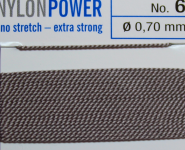 Nylon Power Nr. 7, 0.75 mm grau 2 Meter Nr. 6 - 0,70 mm